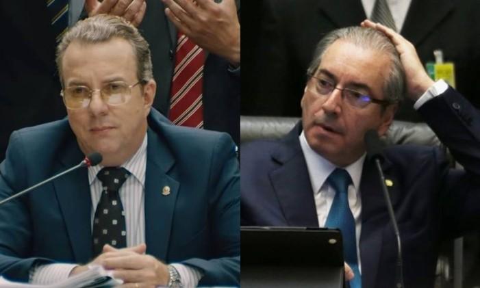 Carlos Penha (Augusto Madeira) e o ex-deputado Eduardo Cunha Foto: Arte O Globo