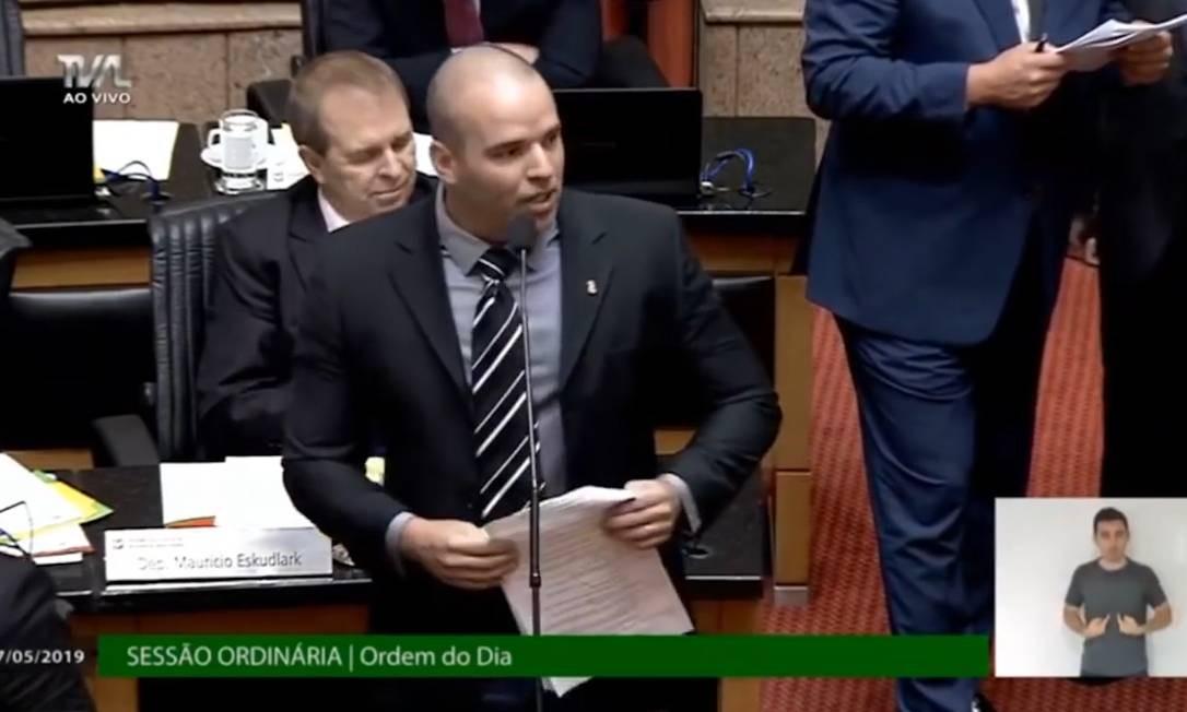 O deputado estadual, Jessé Lopes (PSL), entrou na discussão sobre um projeto de lei de combate ao assédio sexual e à cultura do estupro em Santa Catarina na Assembleia Legislativa Foto: Reprodução