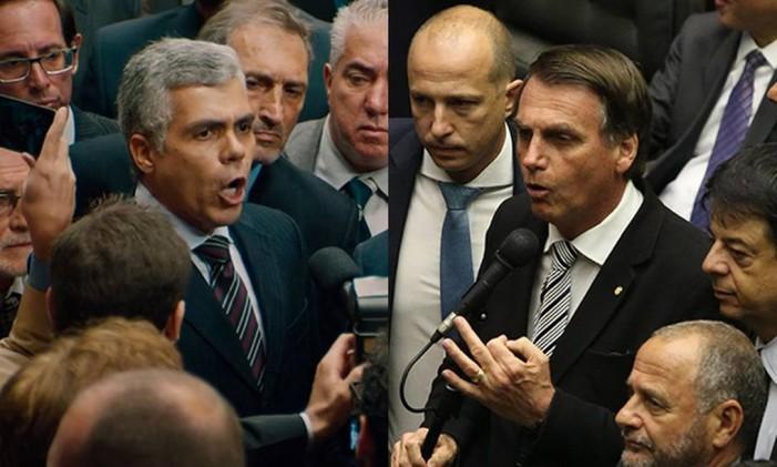 O deputado sem nome, vivido por Garcia Júnior, e o presidente Jair Bolsonaro Foto: Arte O Globo