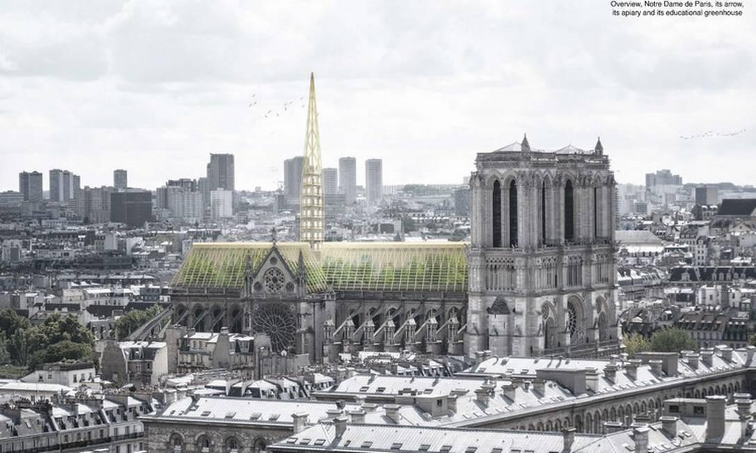 Studio NAB pretende transformar em estufa a parte inferior do telhado de Notre Dame Foto: Divulgação / Divulgação