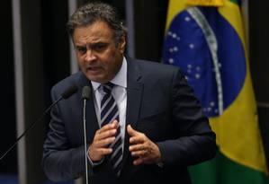 Aecio Neves (PSDB-MG) durante sessão do Senado em 2016 Foto: André Coelho / Agência O Globo