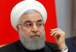 Hassan Rouhani: preocupação com posicionamento de navios e aviões de guerra americanos no Golfo Foto: Sergei Chirikov/Reuters/14-2-2019