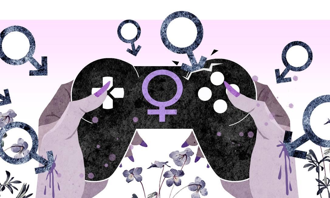 O mercado gamer é praticamente todo construído por homens, que a todo momento reafirmam o machismo por meio de personagens sexualizadas, burras ou submissas Foto: Arte de André Mello