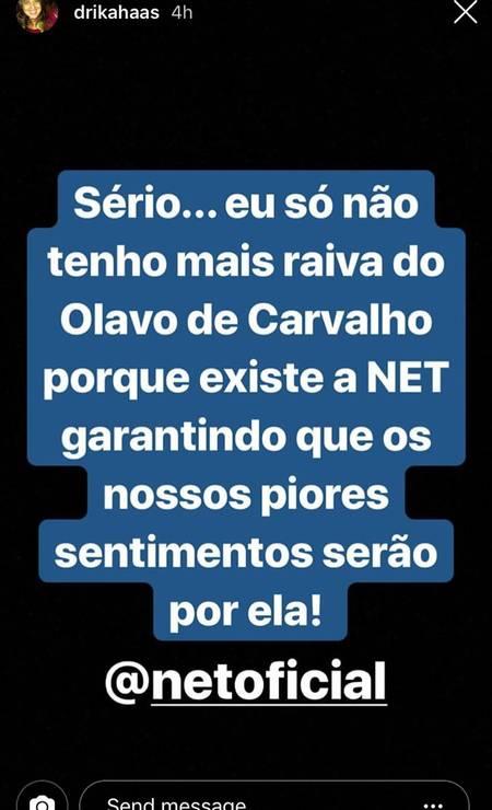 Comentário da filha de Villas Bôas no Instagram, em protesto a Olavo Foto: Reprodução / Instagram