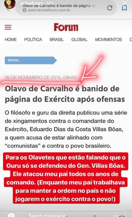 O desabafo da filha de Villas Bôas no Instagram Foto: Reprodução / Instagram