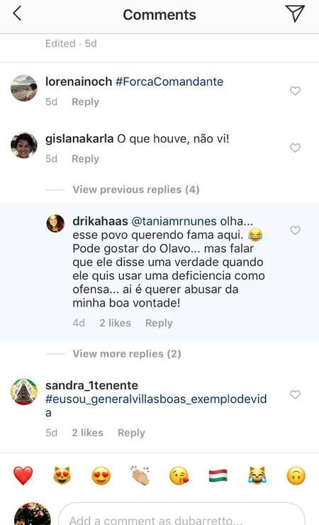 Comentário da filha de Villas Boas no Instagram, em protesto a Olavo Foto: Reprodução / Instagram