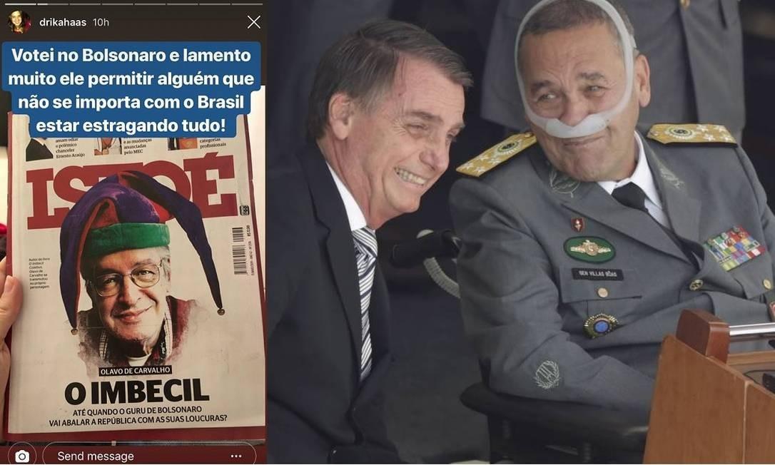 Adriana Haas Villas Bôas, filha do general que comandou o Exército, cobrou Bolsonaro nas redes Foto: Reprodução Instagram / Gabriel de Paiva / Agência O Globo