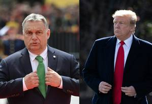 Premier húngaro, Viktor Orbán em cúpula da UE em Sibiu; presidente americano, Donald Trump, em Washinton Foto: Daniel MIHAILESCU//SAUL LOEB / AFP