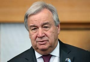 O secretário-geral da ONU, Antonio Guterres, após encontro ambientalistas e lideranças em prol do clima Foto: MICHAEL BRADLEY / AFP
