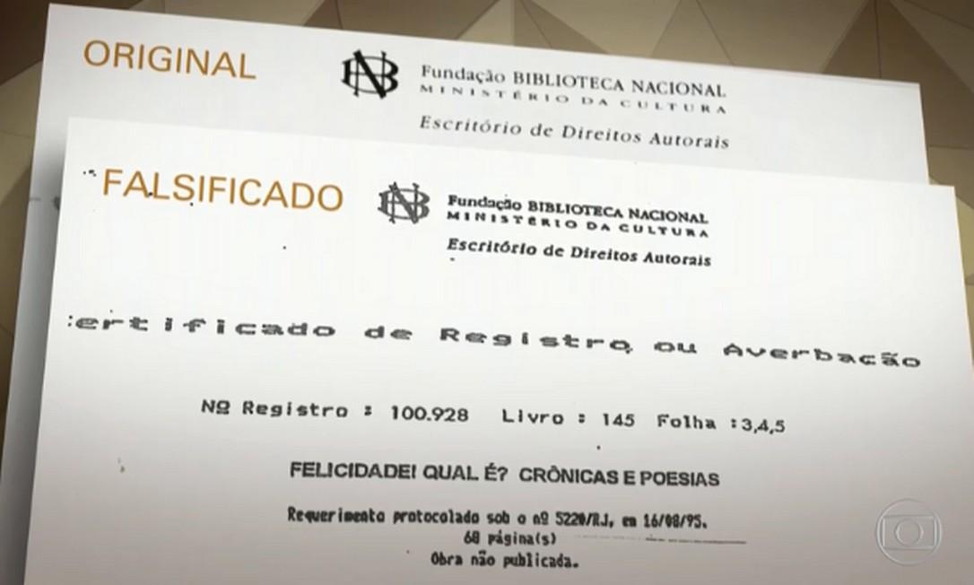 Reportagem mostrou diferenças na formatação dos registros da Biblioteca e o falsificado apresentado por Izaura Foto: Reprodução/TV Globo