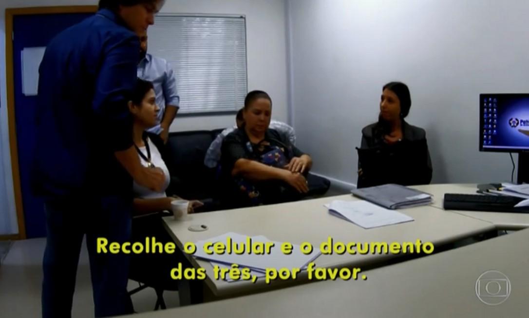 Izaura Garcia e suas duas advogadas foram presas em flagrante. Elas respondem ao processo em liberdade Foto: Reprodução/TV Globo
