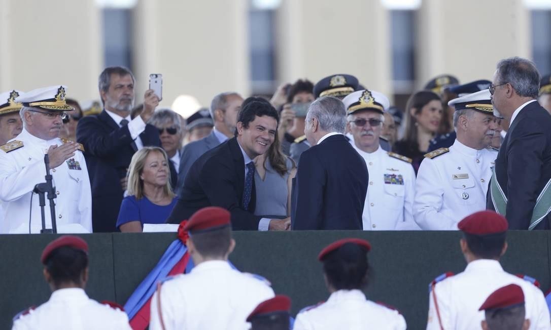 Em abril de 2017, Moro foi homenageado pelo então presidente Michel Temer Foto: Ailton de Freitas / Ailton Freitas