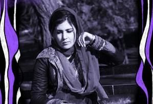A jornalista afegã e defensora dos direitos das mulheres Mena Mangal Foto: Arte sobre foto de reprodução