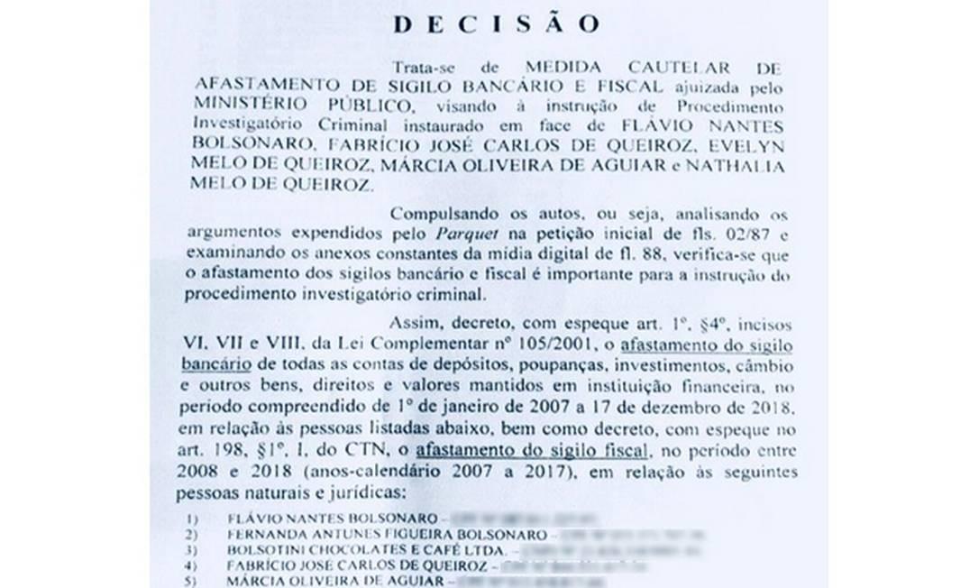 Juiz autoriza quebra de sigilo de Flávio Bolsonaro e Fabrício Queiroz Foto: Reprodução