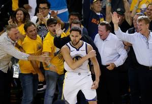 Klay Thompson é um dos destaques do Golden State Warriors, finalista do Oeste Foto: Lachlan Cunningham / AFP