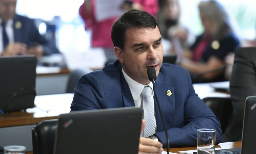 O senador Flávio Bolsonaro (PSL-RJ), durante audiência pública no Senado Foto: Edilson Rodrigues/Agência Senado/09-05-2019