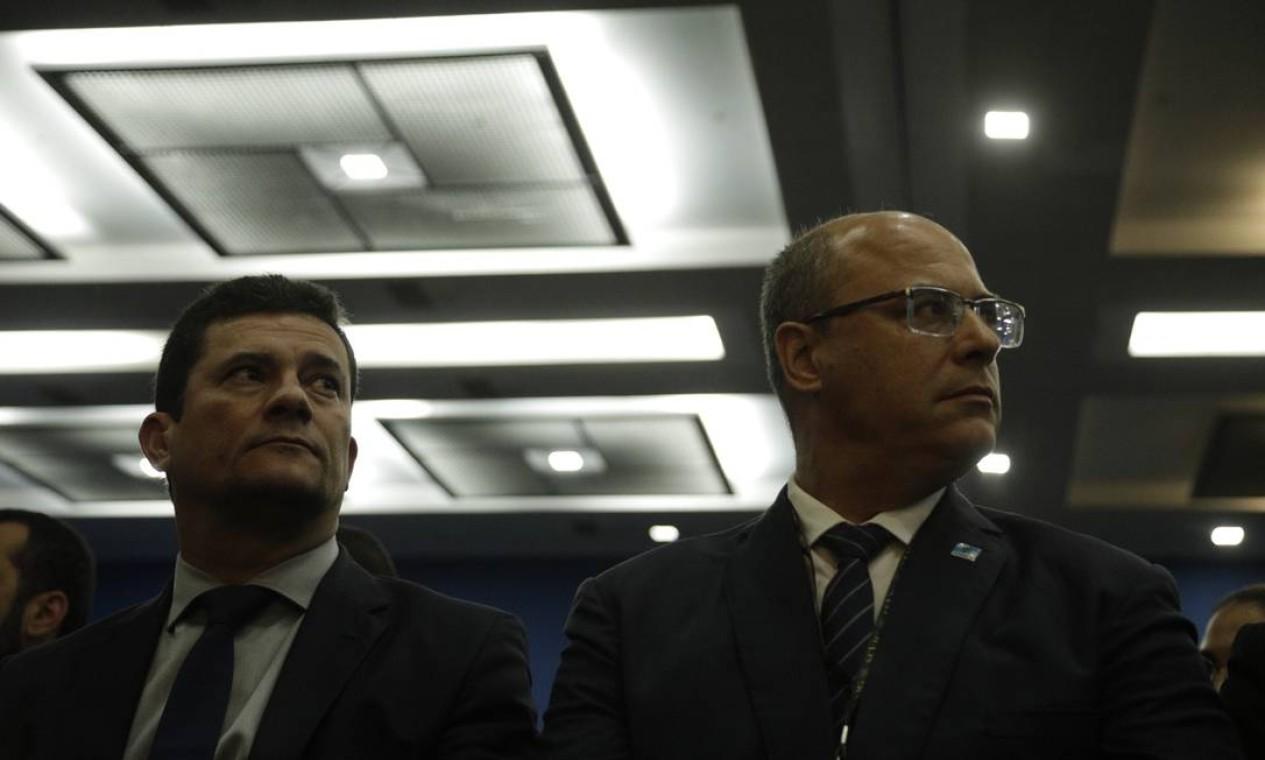 Governador Wilson Witzel e o ministro da justiça Sergio Moro, no Lançamento do documentário