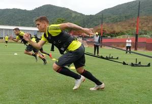Cuéllar em treino no Ninho do Urubu Foto: Alexandre Vidal/Flamengo