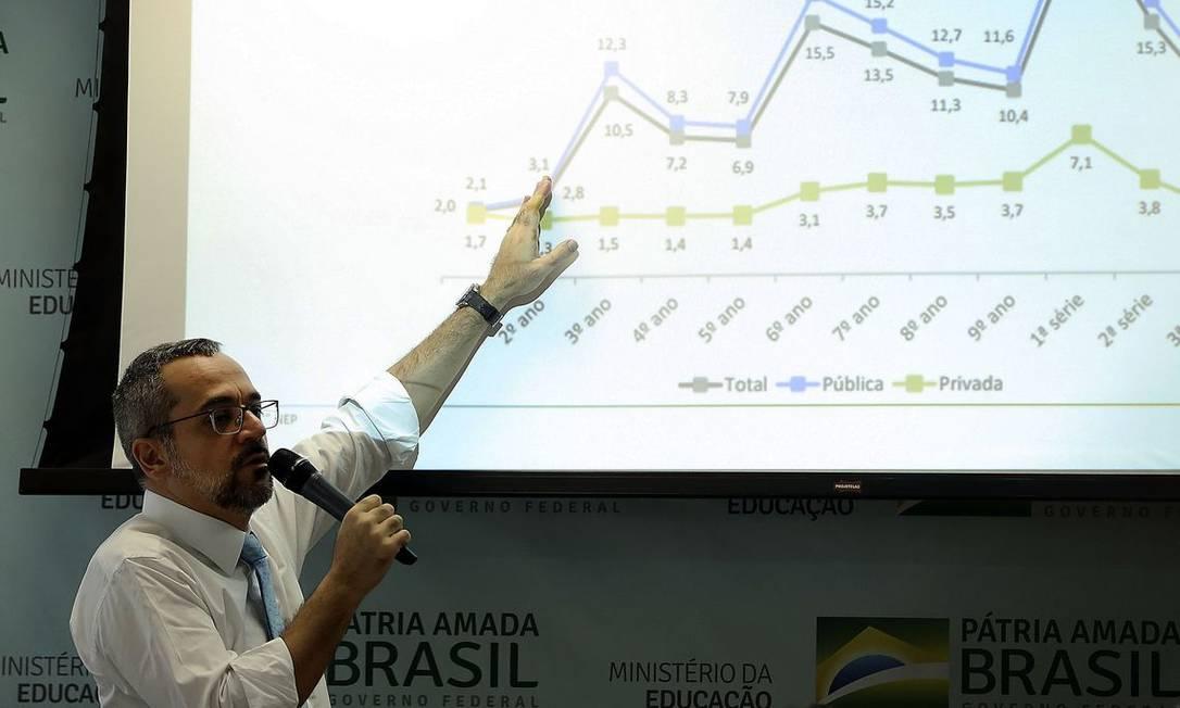 O ministro da Educação, Abraham Weintraub, durante café da manhã com jornalistas Foto: José Cruz/Agência Brasil