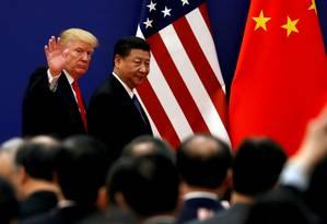 Presidente dos EUA, Donald Trump, e presidente chinês, Xi Jinping, em Pequim Foto: Damir Sagolj / Reuters/9-11-2017