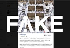 É #FAKE que foto de prédio pichado mostre imóvel dentro da USP Foto: Reprodução