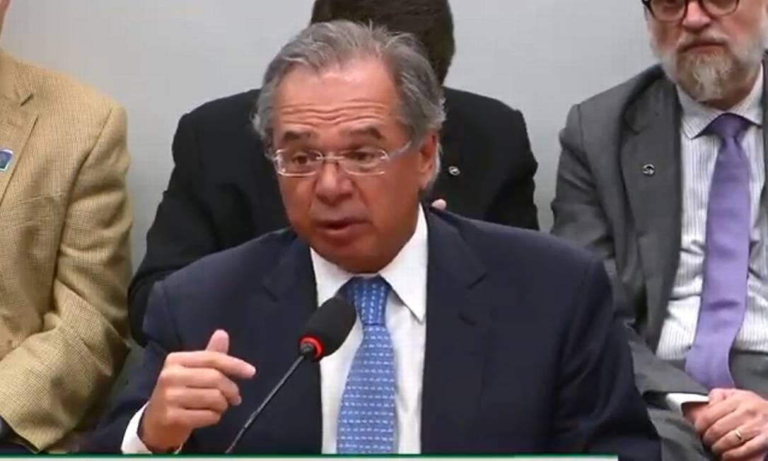 Ministro Paulo Guedes fala sobre corte de gastos na Comissão Mista de Orçamento Foto: Reprodução internet