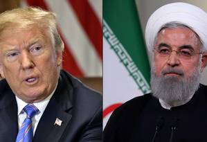 Montagem coloca lado a lado os presidentes dos EUA, Donald Trump, e do Irã, Hassan Rouhani Foto: AFP
