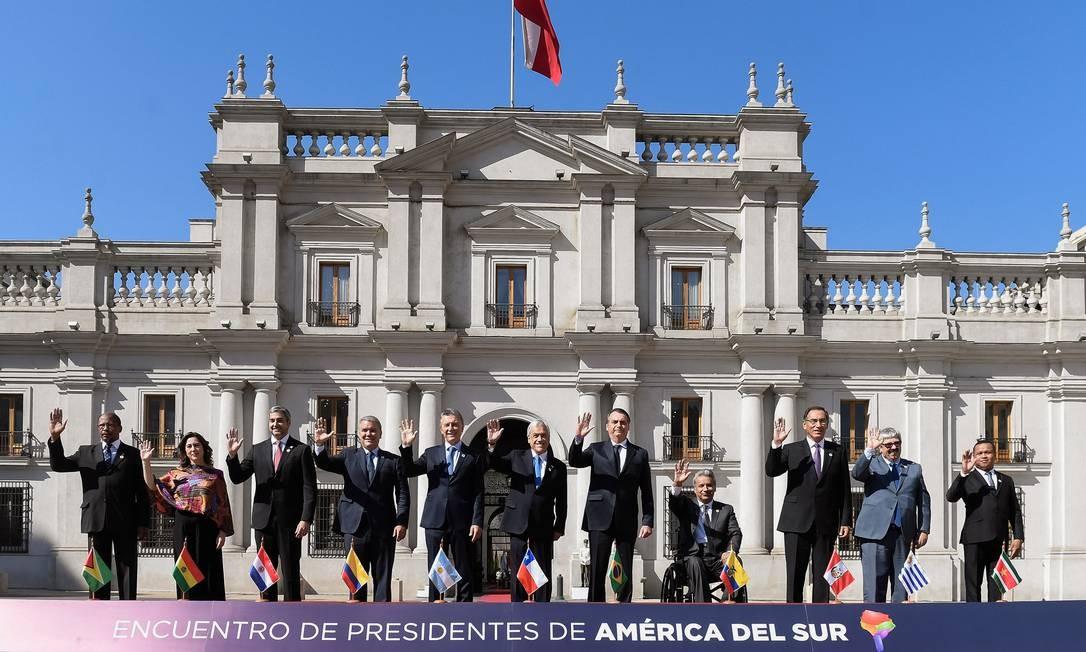 Em Santiago, no Chile, Jair Bolsonaro participou do lançamento do Fórum para o Progresso da América do Sul (Prosul), novo bloco de integração sul-americana Foto: Alex Ibanez 22-03-2019 / Governo do Chile