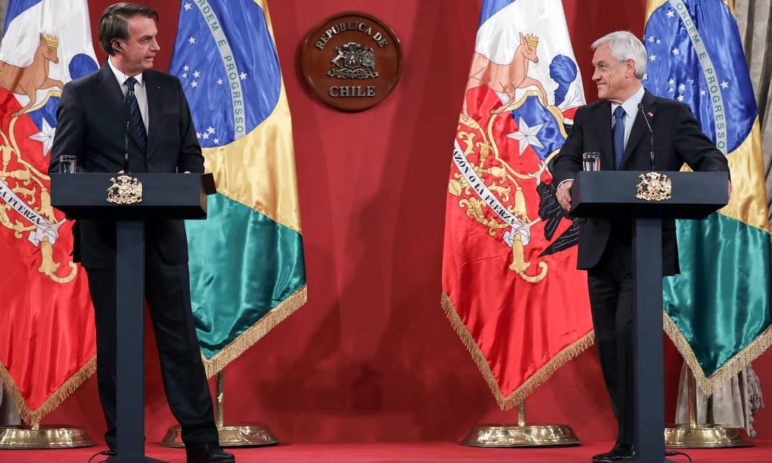 Jair Bolsonaro discursa ao lado do presidente chileno, Sebastián Piñera, em último dia de viagem a Santiago. Na ocasião, os dois assinaram declaração conjunta de compromisso por restaurar a democracia na Venezuela Foto: Marcos Corrêa 23-03-2019 / PR