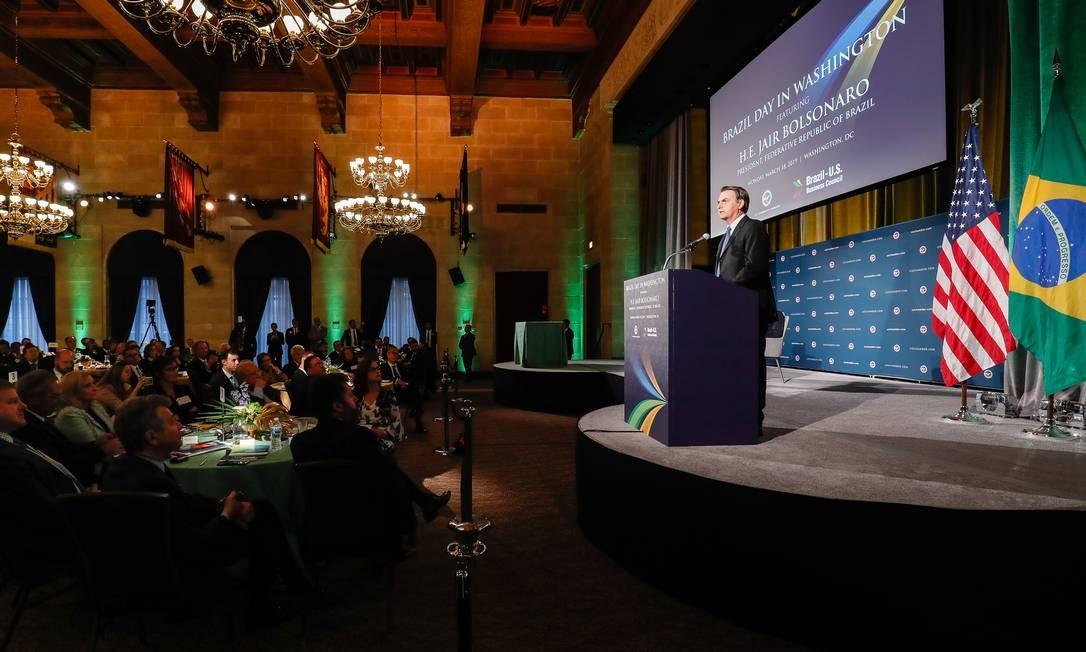 Presidente brasileiro, Jair Bolsonaro discursa durante evento em Washington Foto: Alan Santos 18-03-2019 / PR
