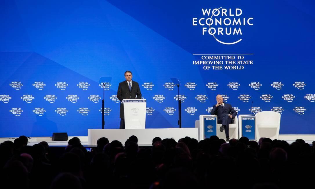 Jair Bolsonaro abriu a sessão do Fórum de Davos, na Suíça, e apresentou projeto econômico de seu governo à comunidade internacional Foto: Clauber Cleber Caetano 22-01-2019 / PR