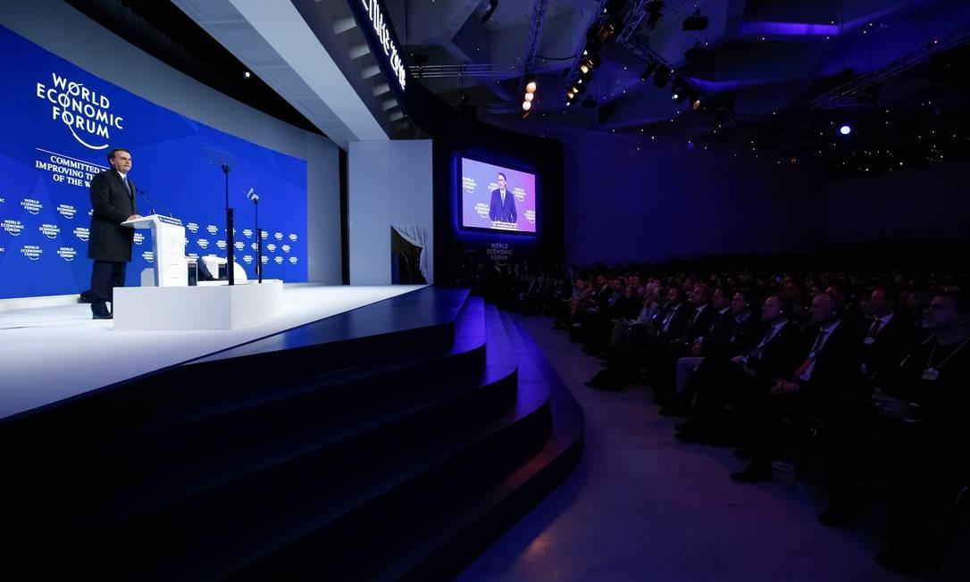 Jair Bolsonaro discursa durante Sessão Plenária do Fórum Econômico Mundial, em Davos Foto: Alan Santos 22-01-2019 / PR
