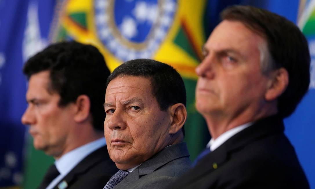 O vice-presidente Hamilton Mourão, durante cerimônia no Palácio do Planalto Foto: Adriano Machado/Reuters/07-05-2019