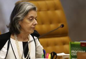 A ministra Cármen Lúcia, durante sessão do Supremo Tribunal Federal (STF) Foto: Jorge William/Agência O Globo/24-04-2019