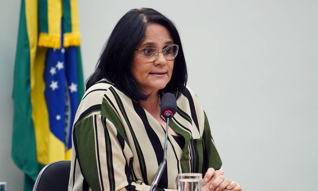 A ministra dos Direitos Humanos, Damares Alves, durante audiência na Câmara Foto: Pablo Valadares/Câmara dos Deputados/16-04-2019