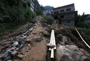 Travessa Limoeiro, no Condominio Figueiras do Itanhangá, onde desabaram dois prédios Foto: Fabiano Rocha / Agência O Globo