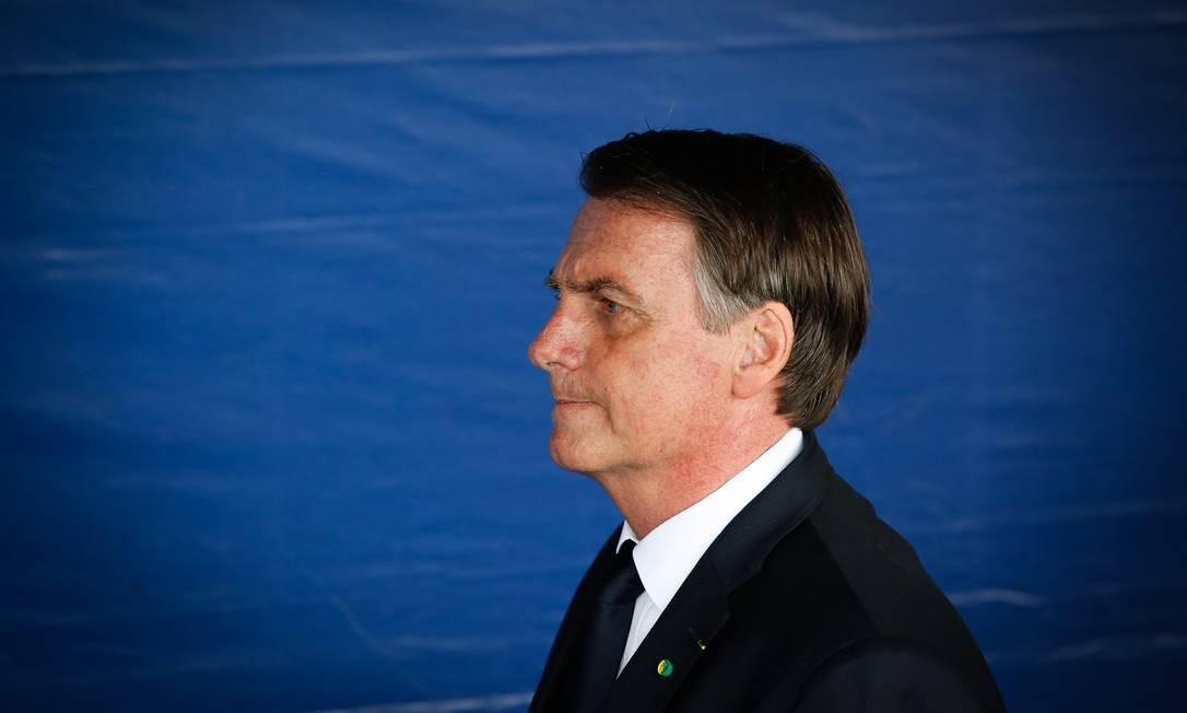 Presidente brasileiro, Jair Bolsonaro participa de cerimônia no Monumento aos Pracinhas, no Rio Foto: Pablo Jacob 08-05-2019 / Agência O Globo