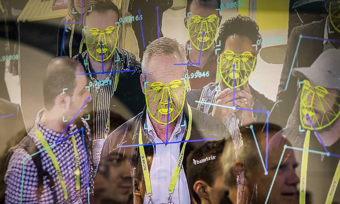 Evento de Las Vegas demonstra uso da tecnologia do reconhecimento facial Foto: JOE BUGLEWICZ / NYT