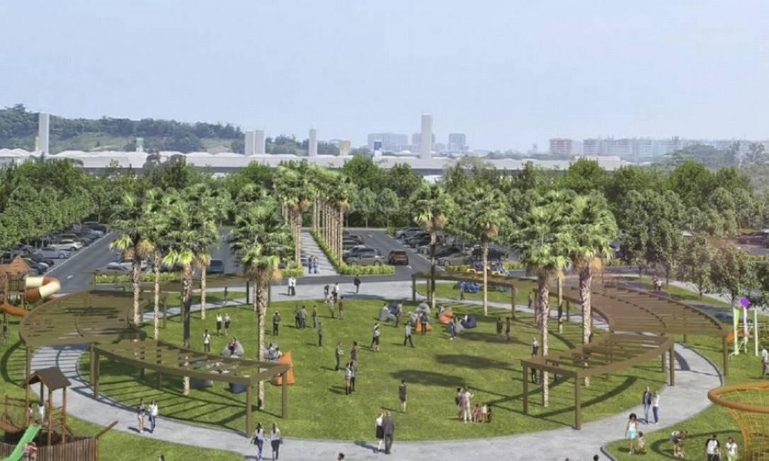 Green Park: Área terá gramado, parque infantil e pergolados com sombra Foto: Divulgação / Divulgação