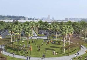 Área terá gramado, parque infantil e pergolados com sombra Foto: Divulgação