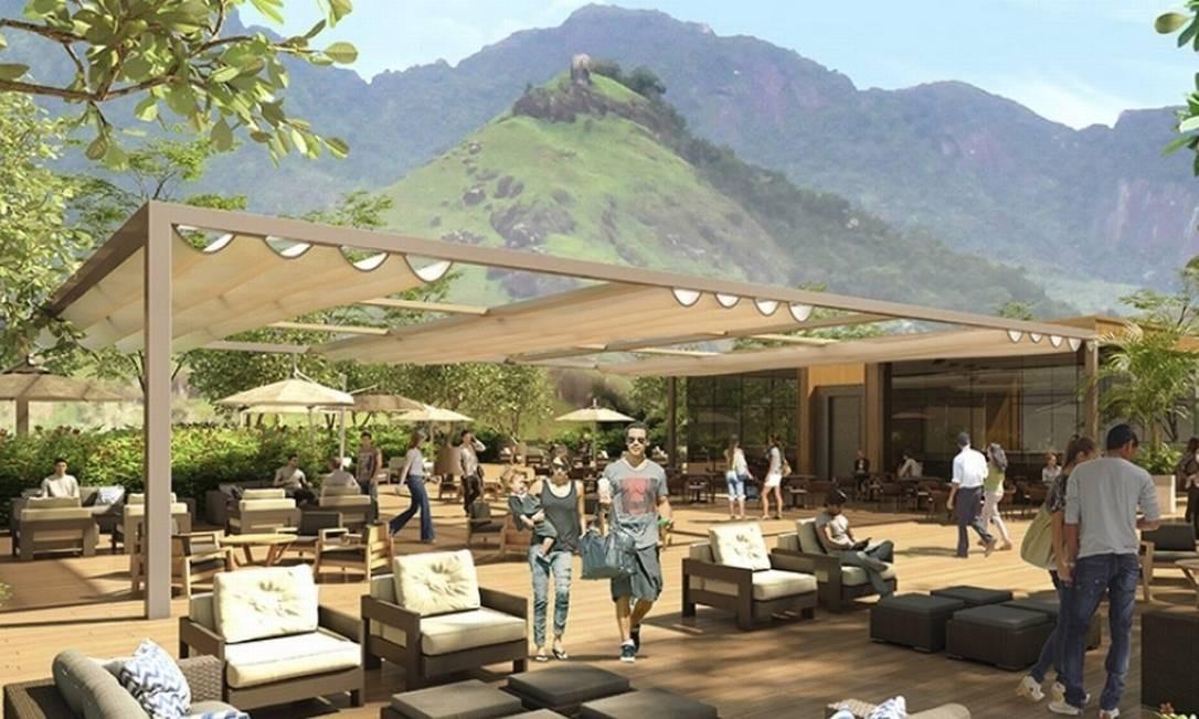 Deque: o espaço de 3.200 metros quadrados, com bares e restaurantes, terá vista para o Parque Nacional da Tijuca Foto: Divulgação / Multiplan