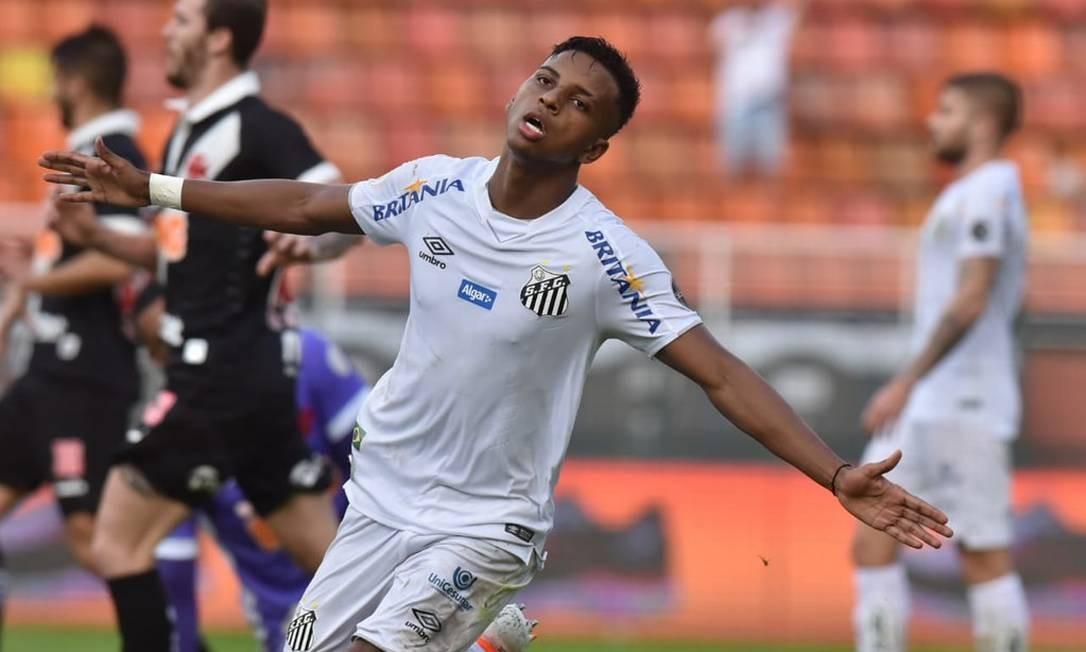 O atacante Rodrygo, do Santos, foi convocado torneio com a seleção olímpica Foto: Ivan Storti/Divulgação Santos FC