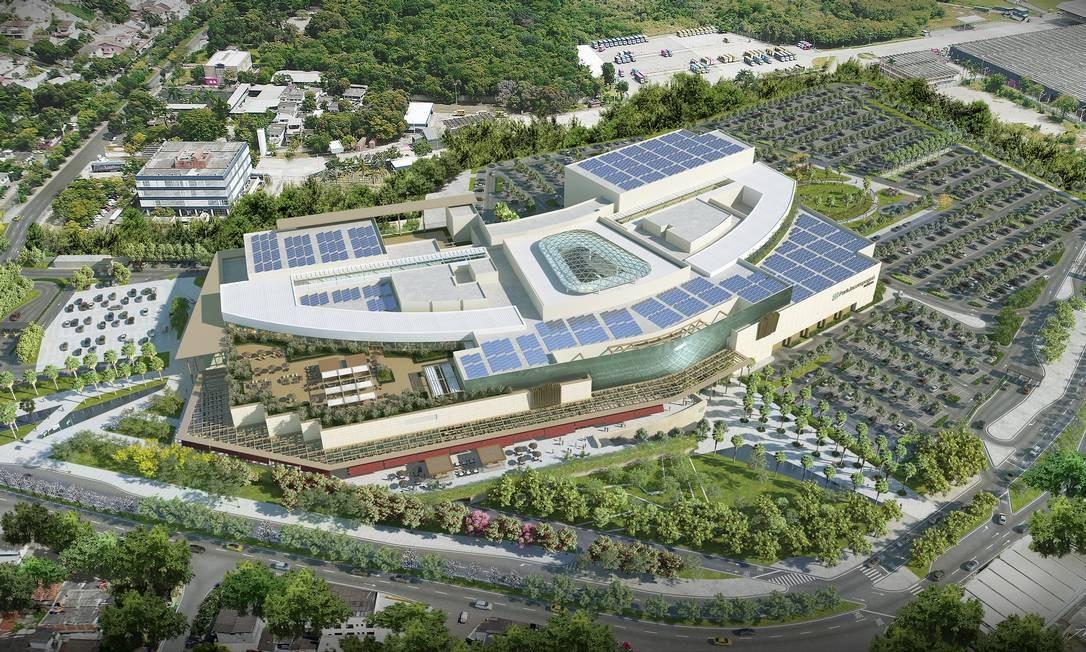 A fachada do ParkJacarepaguá: 249 lojas, 11 megalojas, seis salas de cinema e pista de patinação no gelo Foto: Divulgação / Multiplan