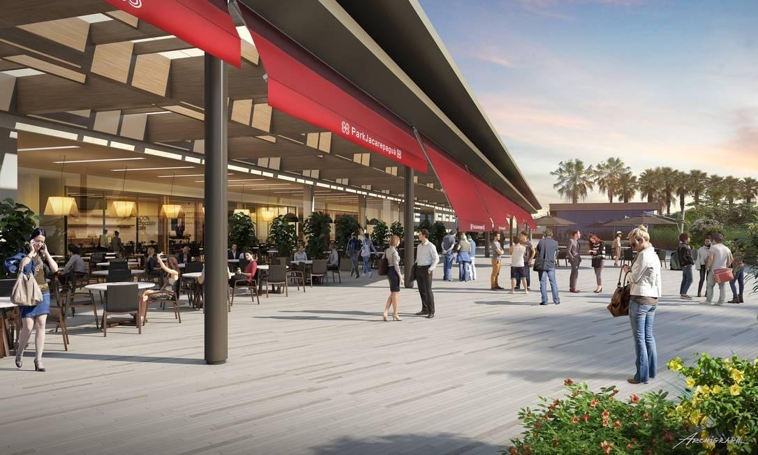 O Boulevard Gourmet terá oito restaurantes em áreas internas e ao ar livre, reproduzindo o clima de rua Foto: Divulgação / Multiplan