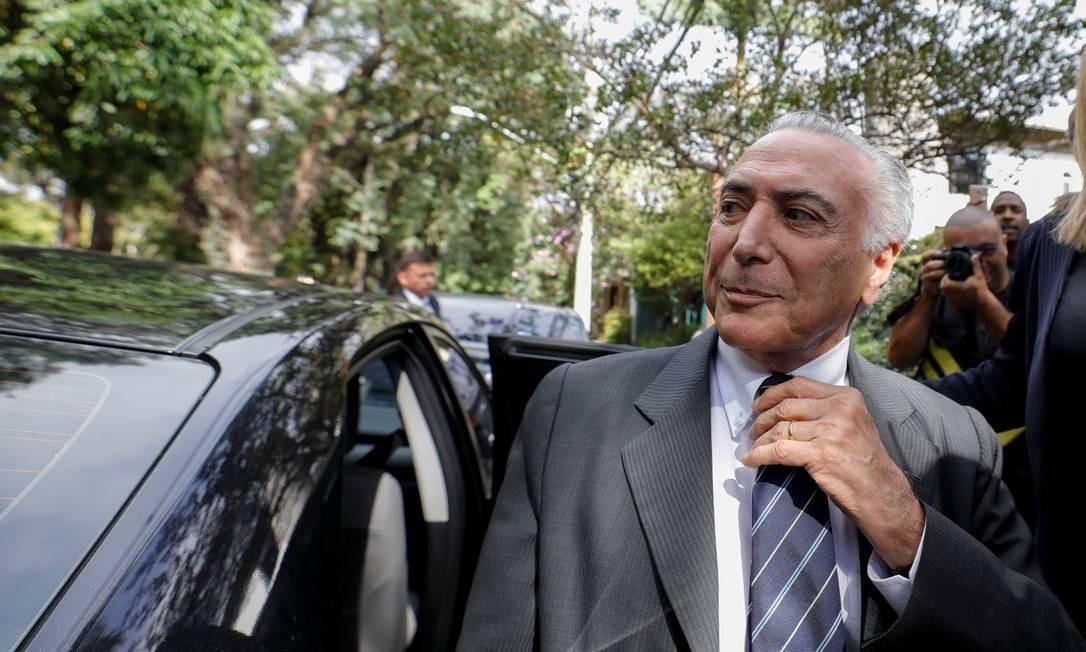 O ex-presidente Michel Temer chega em casa após sair da prisão Foto: STRINGER / REUTERS