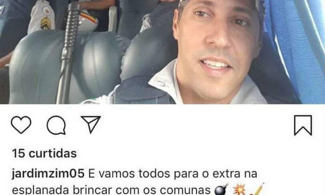 Postagem do PM Rodrigo Jardim a caminho da manifestação em Brasília Foto: Reprodução