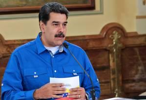 Líder da Venezuela, Nicolás Maduro participa de reunião com membros do gabinete em Caracas Foto: Presidência da Venezuela 15-05-2019 / AFP