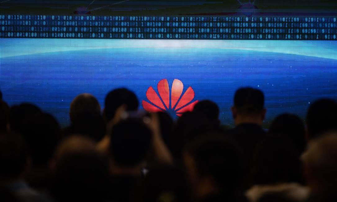 Evento da Huawei em Pequim: empresa está no centro da guerra comercial entre EUA e China Foto: / Fred Dufor/AFP