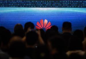 Evento da Huawei em Pequim: empresa está no centro da guerra comercial entre EUA e China Foto: Fred Dufor/AFP