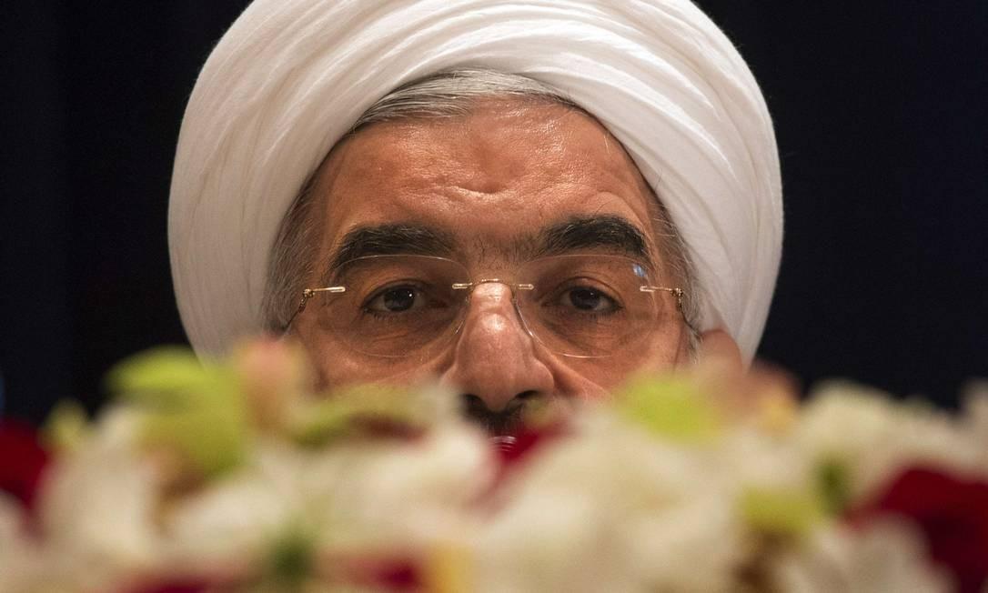 Hassan Rouhani, presidente do Irã, responde perguntas de jornalistas em Nova York Foto: ADREES LATIF / Reuters